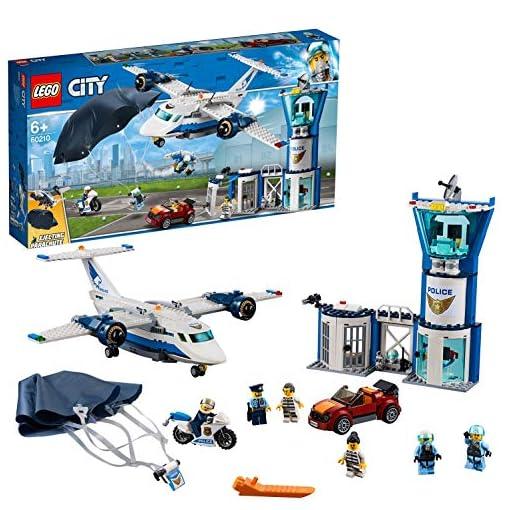 LEGO-City-Police-Base-della-Polizia-Aerea-con-6-Minifigures-Una-Torre-di-Controllo-a-3-Livelli-con-Magazzino-per-Jetpack-Aereo-e-Paracadute-Set-di-Costruzioni-per-Bambini-dai-6-Anni-in-Su-60210