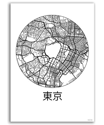 Plakat Tokyo Japan Minimalist Map - Poster, City Map, Dekoration, Geschenk