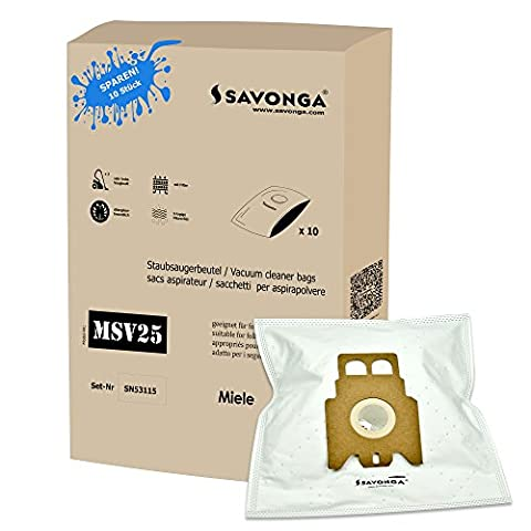 Savonga 10 Staubsaugerbeutel für Miele JFM S 771 S4-S4000...4999 Serie S5 S8340 S5211 S2 S2000-2999 S5000-5999 uvm. + 1 Motor Filter + 1 Micro