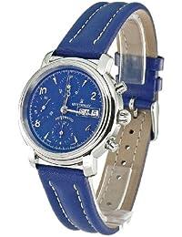 Revue Thommen Chronograph 1701 - Reloj de caballero automático, correa de piel color azul claro