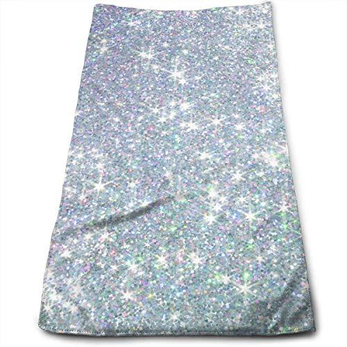 ewtretr Asciugamani Viso-Mani,Shiny Silver Background Multi-Purpose Microfiber Towel Ultra Compact...