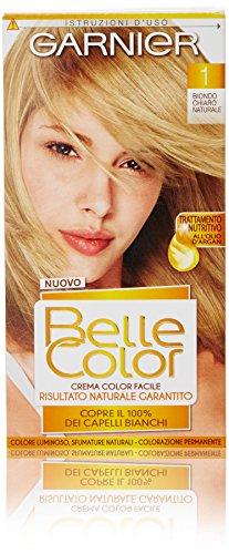 Garnier Colorazione Permanente per Capelli Belle Color, Risultato Naturale e Luminoso, 1 Biondo Chiaro Naturale