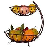 YIFNJCGD 2 Tiers Obstkorb Wohnzimmer Kreative Mode Eisen Obstteller, einfache Chinesische Retro Luxus Lagerregal, Multifunktions Obstschale, 32 * 28,5 * 26,5 cm Bronze