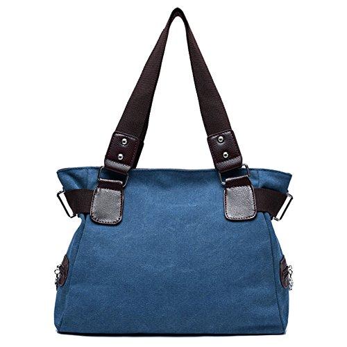 Estwell Damen Handtasche Canvas Schultertasche Umhängetasche Frauen Shopper Tasche Modisch Henkeltasche Beuteltasche Blau