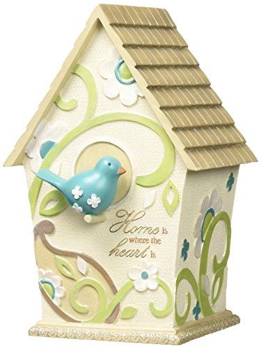 Pavilion Gift Co. Perfectly Paisley Home Deko-Vogelhaus, Aufschrift Home is Where The Heart is (Ebenholz-kreuz)