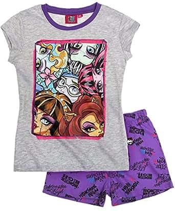 Pyjama court enfant fille Monster High 6 personnages Gris/violet 12ans