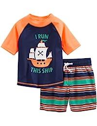 Simple Joys by Carter\'s 2-Piece Swimsuit Trunk and Rashguard Bebé-Niños