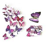 24 Stück Wall Sticker, MOMDAD 3D Schmetterlinge Blumen Wandsticker Wandaufkleber Stickers für Türen Fenster - Bunt Lila
