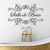 ONETOTOP Salle de Bain Etiqueta de la Pared para el baño francés Vinilo calcomanía Pegatinas hogar decoración Interior Impermeable extraíble 57 * 36 cm