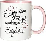 Mister Merchandise Becher Tasse Engel Ohne Flügel Nennt Man Erzieherin Kaffee Kaffeetasse liebevoll Bedruckt Beruf Job Geschenk Weiß-Rosa