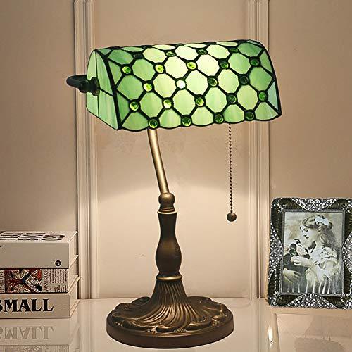 CCSUN Vintage Tiffany stil Tischlampe, Traditionellen Banker lampe Tabelle licht Mit Glasschirm E27 Legierung Schalter ziehen Nachttisch schreibtischlampe Für Schlafzimmer-grün 39cm(15inch) (Lampen Traditionellen Tabelle)