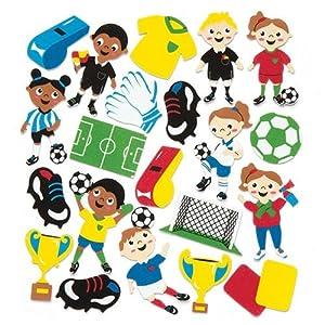 Baker Ross Adesivi in Gommapiuma a Tema Calcio per Bambini, per Decorare Biglietti e Album per Creazioni Artistiche (Confezione da 120)