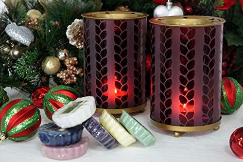 2x Offizielle Yankee Candle Deep Purple geprägtes Muster Mais Metall Wax Melt Wärmer Brenner inkl. 6x Sortiert Tarts