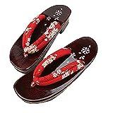 ZooBoo Damen Sandalen Pantoffel Sommerschuhe - Traditionelle Japanische Holzschuhe Geta Kimono Kirschblüte Sakura Musterdruck Rutschfest Poliert Flip-Flops Cosplay Clogs (38/40 EU, Rot Sakura)