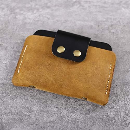 YDFGG Brieftasche Leder Kleine Geldbörse Kredit Mini Geldbörse Handmade Vintage, Tan -
