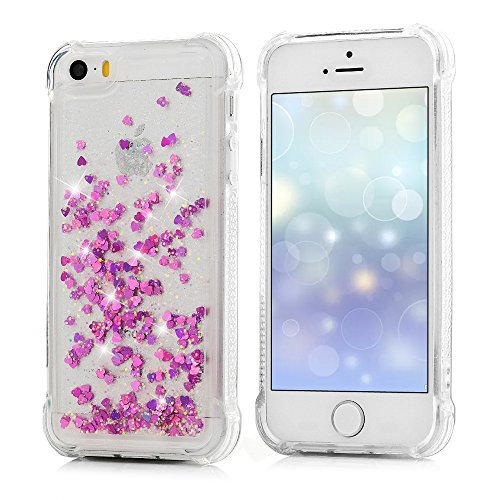 iPhone 5S Cover Silicone e Bling Glitter Brillanti, iPhone 5 SE Custodia Morbida TPU Flessibile Gomma QuickSand - MAXFE.CO Case Ultra Sottile Cassa Protettiva per iPhone 5/5S/SE - Rosa Caldo Rosa Caldo