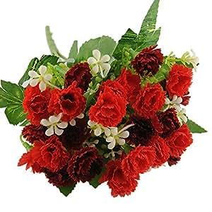 Soledì- 1 Mazzo di 25 Grofani, Fiori Artificiali, Fioritura in Seta Bouquet Decorazione per Cerimonia Matrimonio Party Casa (Rosso+Rosso Scuro)
