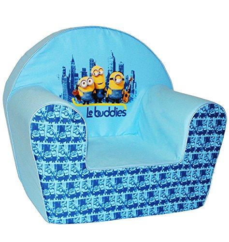 """Kindersofa / Kindersessel - """" Minions - Ich einfach unverbesserlich """" - kleines Sofa - für 1 bis 3 Jahre - Sessel / Kinderstuhl - BLAU - Kindermöbel für Mädchen & Jungen - Schaumstoff - Couch / Einzelsofa - Stoff - Stuhl Stühle / Kinderzimmer - Minion / Mark Dave Stuart Bob Kevin - Despicable Me - Kinder / Sofa"""