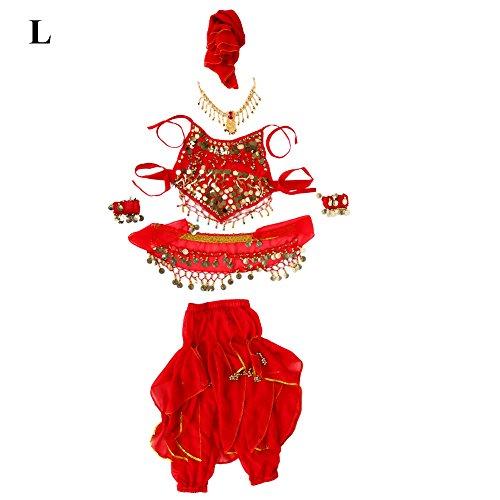 Kostüm Pailletten Tanz Gürtel Mit - VGEBY Mädchen Bauchtanz Kostüm Set inkl. Hosen Halter Top Kopf Kette Kopf Schleier Armbänder mit Pailletten für Halloween Weihnachtsfeier Bauchtanz(L)