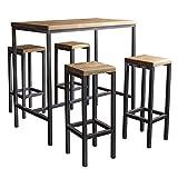 BestLoft.de Stehtisch Bartisch Tresen Bar IndustrieDesign Loft (EIN Set: 120er Tisch+4 Hocker, Eiche Natur)