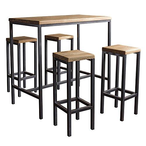 "BestLoft.de Bartisch \""Bartonville\"" Industriedesign Loft (1 Set: 120er Tisch + 4 Hocker \""New York\"", Eiche Natur)"