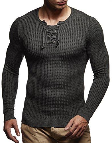 LEIF NELSON Herren Strickpullover Pullover Sweatshirt LN1605; Grš§e M, Anthrazit-Schwarz