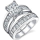 Damen Sterling Silber 925 Verlobungsring,Ehering Set Mit 3 Karat Strahlenden Schnitt Zirkonia Bequemlichkeit Passen,Größe 59