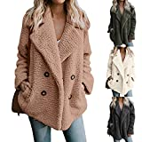 LoveLeiter Damen Casual Jacke Winter Warm Parka Outwear Mantel Frauen Fuzzy Faux Pelz Langarm Strickjacke Wintermantel Einfarbig Trenchcoat Umlegekragen Winterjacke Dicker Pelzkragen Jacken