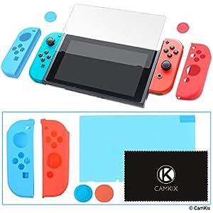 CamKix Kit Grip e Protezione compatibile con Nintendo Switch: 2x Cover Joy Con, 2x Cover Thumb Grip, 1x Proteggi Schermo Antigraffio 1x Panno di Pulizia - Extra Grip e Protezione - Aderenza Perfetta