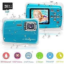 PROACC Caméra étanche Enfants, Anti-Choc 1080P 21 MP Appareil Photo numérique étanche avec Zoom numérique 8X / 21MP / Écran LCD TFT de 2 Pouce (Bleu)
