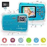 PROACC PROACC wasserdichte Kamera für Kinder (bis 3 Meter), Unterwasser Kinderkamera Camcorder FHD1080p 21MP Digital Sportkamera mit 32 GB Speicherkarte, 2.0 '' LCD-Bildschirm, 8X Digital Zoom, Flash Mic