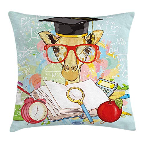 row Pillow Cushion Cover, Hipster Giraffe Animal with Glasses and Cap Geek Student in Education School, Decorative Square Accent Pillow Case, 18 X 18 Inches, Multicolor ()