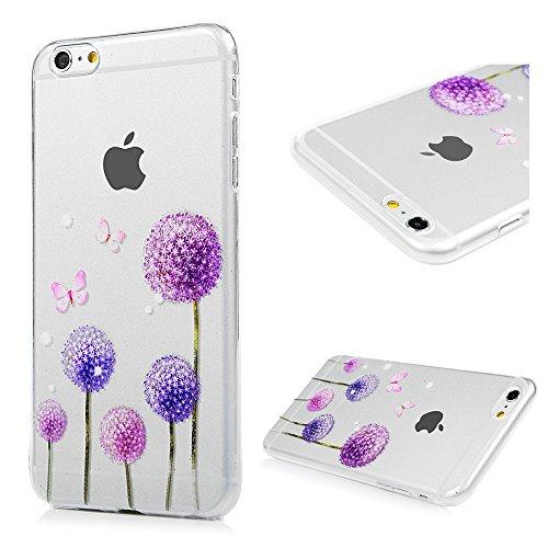 iPhone 6 plus/6s plus Hülle Badalink Gemalt TPU Case Cover Ultraslim Handyhülle Schutzhülle Silikon Bumper Schutz Tasche Schale Transparent Antikratz Backcover,Löwenzahn Löwenzahn