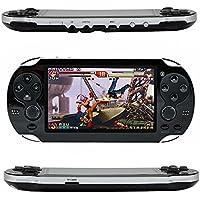 QUMOX Handheld Retro Spielkonsole, Leezo 1PC Wiederaufladbare 4,3 Zoll 8GB Videospielkonsole Free 100 Spiele MP4 MP5 Spieler mit Dual Joystickkamera Klassische Tragbare Retro Game Player Schwarz
