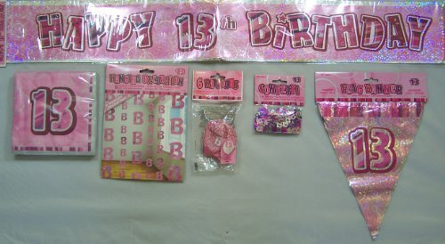 13TH Birthday Party Pack FEM (UNIQUE LARGE) Banner, Balloons ,Bunting, Hanging , CONFETTI & NAPKINS by Every occasion party supplies (Birthday Party 13th)