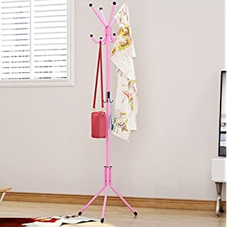 AZX 12 Hooks Metal Hat Coat Rack Clothes Stand Hangers Handbag Floor Standing Rack For Bathroom Living Room Garage Pink
