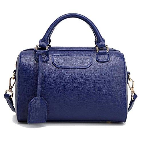 WU ZHI Damen Wilde Boston Tasche Handtasche PU Weiche Leder Schulter Messenger Bag Handtasche Blue