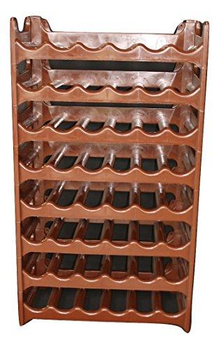 Rack Spirituosen-wand ( Weinregal stapelbar kunststoff für 48 Flaschen, stabiles leichtes Flaschenregal für Keller, Gastronomie und Lagerraum, modular erweiterbare Flaschen- und Weinlagerung, braun)