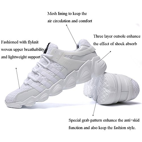 GOMNEAR Chaussures de Course Pour Hommes Walking Léger Outdoor Casual Athletic Knit Tennis Sports Sneakers Blanc