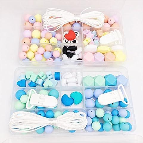 Mamimami Home Baby Zubehör Pram Spielzeug 2set DIY Handwerk Krankenpflege Halskette Handgemacht Schnuller-Clips Zahnen Schmuck Silikon Perlen