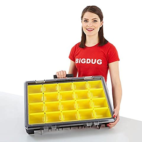 BiGDUG Deep Tool Compartment DIY Storage Organiser Snap Lock Grip Portable Case (115h x 600w x 400d mm)