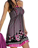 MinetomFemme Sans Manches Style National Fleur Impression licou Robe de plage Rose FR 38