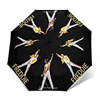 Qialia Freddie Mercury Strong Windproof Stormproof Folding Travel For Women Men UV Protection Automatic Tri-fold Umbrella Folding Umbrell