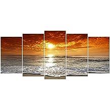 Wieco Art-5 grands tableaux d'arts modernes de haute définition, paysage marin tendu et encadré giclé, impressions sur toile océan mer plage, photos peintures sur toile. Décoration murale pour le salon, chambre à coucher Décorations d'intérieur