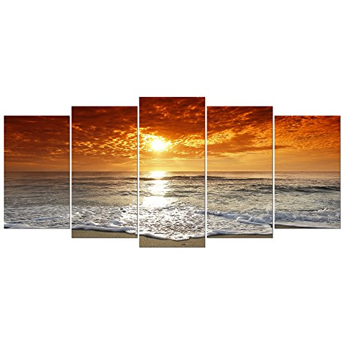 Wieco art grand sight 5 piece modern landscape artwork hd seascape stretched and framed giclee canvas prints ocean sea beach pictures paintings on canvas