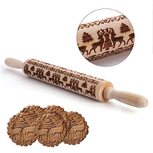 Lucaswang Teigroller aus Holz geschnitzt, Keksprägung, Musterwalze für Fondant Kuchen Teig Keks Backen Geschenk 43 cm holz (Cookies, Halloween Zucker)