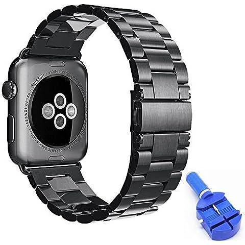 lamavido fascia per Apple Watch 42mm con chiusura magnetica Milanese Loop Nero