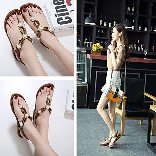 Minetom Femme Fille T-Strap Clip Toe Plate Sandales Mode Perlées Strass Peep Toe Flip Flops Tongs Été Plage Chaussure Café