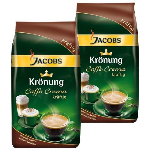 Jacobs Krönung caffè crema forte, chicchi interi, confezione da 2, 2x 1000g
