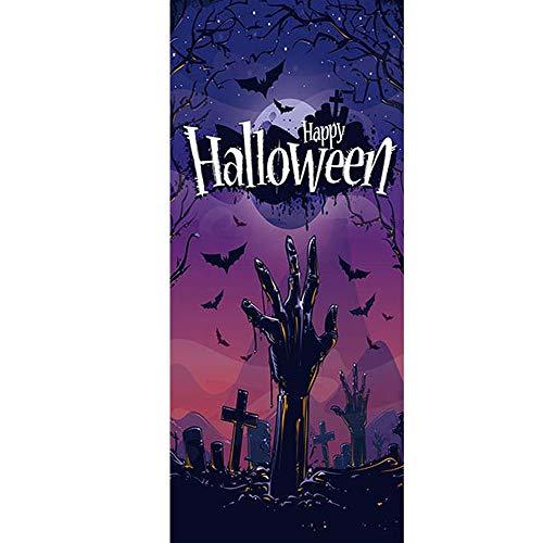 YJZ 3D Türaufkleber Dekoration Wandbild Türtapete Halloween Friedhof Zombie Hand Abnehmbar Selbstklebend Wasserdicht PVC Türposter Renovierung Tür Wohnzimmer Schlafzimmer Küche